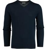 Bos Bright Blue Blue cas v-neck pullover flat knit 19305ca21bo/290 blauw