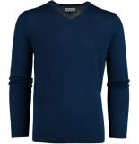 Bos Bright Blue Blue cas v-neck pullover flat knit 19305ca21bo/250 blauw
