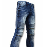 True Rise Biker skinny jeans manen stretch blauw