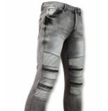 True Rise Biker jeans met rits stretch