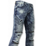 True Rise Biker jeans slim fit ripped jeans h paint drops wit