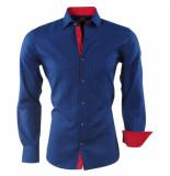 Pradz 2018 Heren overhemd geblokt slim fit blauw