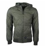 Crosshatch Men's lightweight padded jacket hood forrest groen