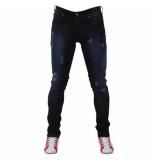 Bravo Jeans Heren jeans damaged look blue wash slim fit stretch lengte 32 zwart