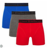 Bamboo Basics 3pack heren boxershorts grijs navy rood