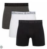 Bamboo Basics 3pack heren boxershorts zwart wit grijs