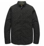 PME Legend Psi197201 9139 long sleeve shirt poplin print black onyx zwart