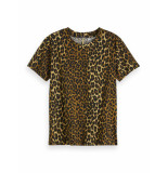 Maison Scotch Printed tee with badge bruin
