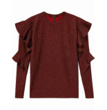 Scotch & Soda 146419 0501 long sleeve lurex top with ruffles rood