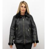 Z-design Dames lammy coat winterjas– zwart
