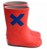 Boxbo Rainboots naute, rode regenlaars met blauw kruis rood