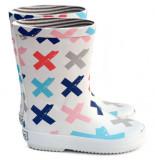 Boxbo Rainboots naute, te regenlaarzen met gekleurde kruizen wit