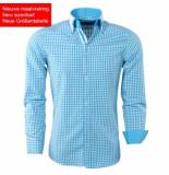 Montazinni Heren overhemd dubbele kraag met trendy design turquoise