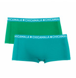 Muchachomalo Girls 2-pack short solid/solid blauw