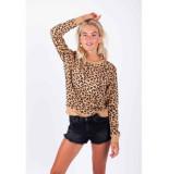 Colourful Rebel leopard basic sweat bruin