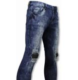 True Rise Biker jeans slim fit damaged knee h paint drops