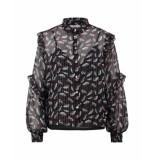 Aaiko Tokio blouse black & flower printed zwart