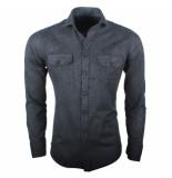 Ferlucci Heren overhemd lecce flausch flanel stretch grijs antraciet