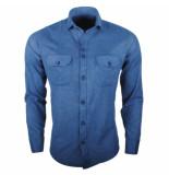 Ferlucci Heren overhemd lecce flausch flanel stretch blauw