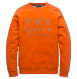 PME Legend Psw197430 2119 crewneck washed terry orangeade rood