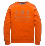 PME Legend Psw197430 2119 crewneck washed terry orangeade rood