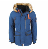 Wildstream Heren winterjas met faux fur bontkraag teddy gevoerde capuchon navy blauw
