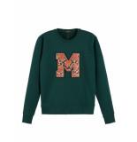 Maison Scotch Chest artwork sweater groen