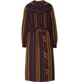 10 Feet Stripe print midi dress plum paars