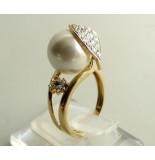 Christian Gouden ring met parel en zirkonia geel goud
