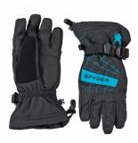 Spyder Met electric blauwe kinder ski handschoenen boy's over web zwart