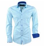 Caprisel Heren overhemd met trendy design slim fit stretch turquoise