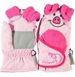 Ziener Pink / kinderwanten lanimal mini's met ruime klitteband overslag roze