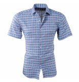 Pradz 2018 Heren korte mouw overhemd geblokt slim fit grijs