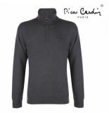 Pierre Cardin Heren sweater met rits donker grijs