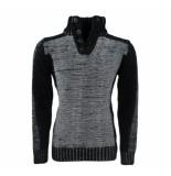 New Republic Heren trui fijn gebreid knopen wit zwart