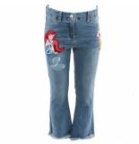 Monnalisa Jeans frange ricamati blauw