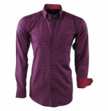 Enrico Polo Heren overhemd geblokt borstzak slim fit rood