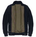 Cast Iron Zip jacket cotton slub cable dark sapphire blauw
