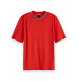 Scotch & Soda 155893 3322 short sleeve tee with bandana pattern in rib tomato red rood