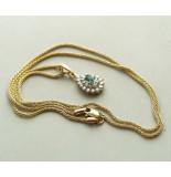Christian Gouden collier en hanger met smaragd en diamant geel goud