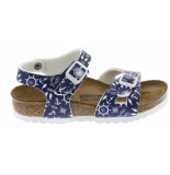 Birkenstock Rio nautical print blue narrow blauw