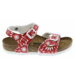 Birkenstock Rio nautical print red narrow rood