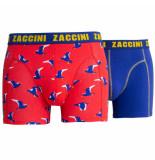 Zaccini 2pack boxershorts birds rood blauw