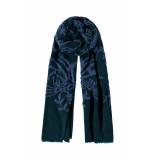 DIDI Rechthoekige sjaal met borduursels blauw