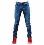Bravo Jeans Heren jeans damaged look color splash slim fit stretch lengte 34 denim blauw