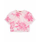 Oilily Bloei linnen blouse met fluo bloemenprint en zilveren details- wit