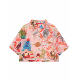 Oilily Boot roze organza blouse met kleurrijke print-