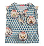 Oilily Burcht katoenen blouse met oudhollandse prints en vissenoogjes- grijs melange