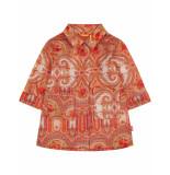 Oilily Carlijn oversized trenchcoat met roze paisley print- oranje
