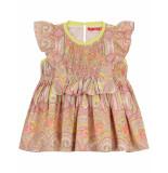 Oilily Dana roze paisley jurkje met gesmokt bovenlijfje-